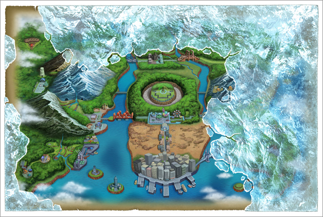 Map of the Unova Region in Black/White 2